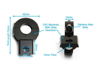 Pair of Universal Black CNC Machined Spot Light / Fog Light  Brackets for Motorcycle Motorbike Trike Quad (size options available)