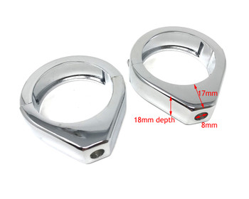 Pair of Chrome Motorcycle Indicator / Turn Signal Relocator Fork Clamps