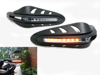 Black Handguards with inbuilt Indicators for Motorcycle Motorbike Quad Bike