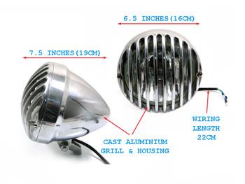 "Motorbike Motorcycle 6 1/2"" 6.5"" Polished Aluminium Universal Prison Style Custom Bike Headlight"