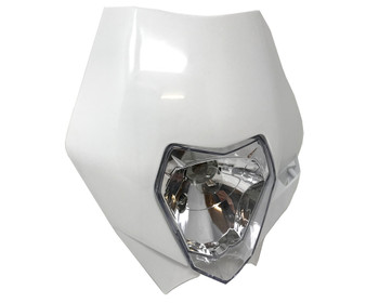 White Motorbike Headlight for Supermoto, Motocross, Streetfighter - Good Quality