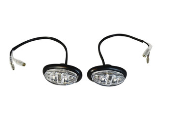 Pair of Fairing Bodywork Flush Mount Clear Lens Small Oval LED Indicators For Motorcycles Motorbikes Scooters