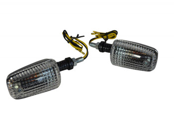 21W Bulb Indicators - Carbon Fibre Look Plastic with Clear lens