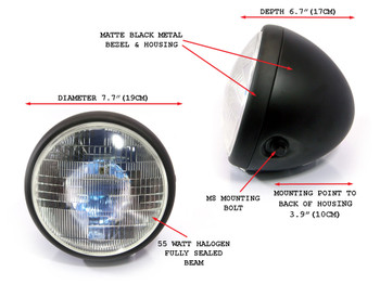"Motorcycle Headlight 7.7"" Matt Black Steel 12V 55W for Custom Project"