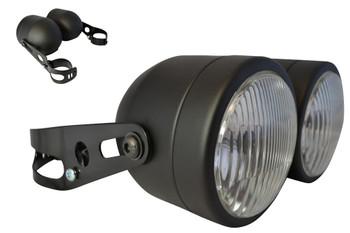 Pair of Black Streetfighter Retro Trike Motorcycle Motorbike 35 Watt Headlights with 32-40mm Brackets