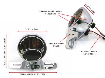 "Motorbike ""STOP"" Stop/Tail Light - Chrome Vintage - Bulb Type"