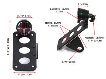 Side Mount Motorbike Motorcycle Miller Replica Tail Light & Number / License Plate Holder