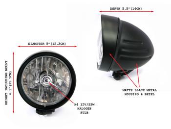 "5"" Matt Black Bottom Mount H4 55W Custom Motorcycle Motorbike Steel Headlight"