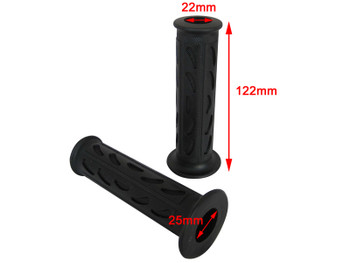 "Black Soft Silicon / Rubber Motorcycle Motorbike Hand Grips 22mm  7/8"" Universal"