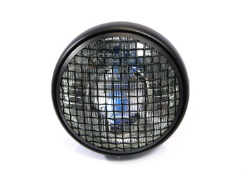 "7.7"" Motorbike Headlight - Matt Black with Mesh Grill - H4 55W"