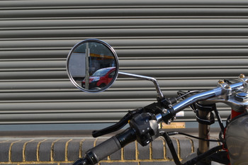 Pair of Easy Fit Basic Simple M10 Round Chrome Motorcycle Motorbike Mirrors