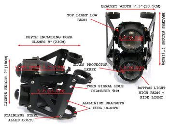 Dual Stacked Streetfighter Projector Black Motorbike Headlight Forks (size options available)