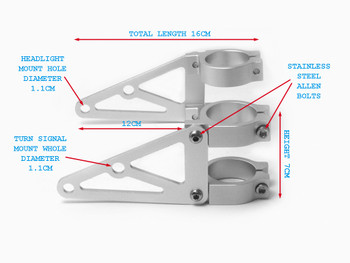 High Quality CNC Brushed Aluminium Fork Mounted Motorcycle Motorbike Headlight Brackets (size options available)
