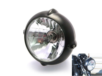 "6.7"" 12V / 55W Matt Black Bottom Mount Motorbike Trike Headlight"
