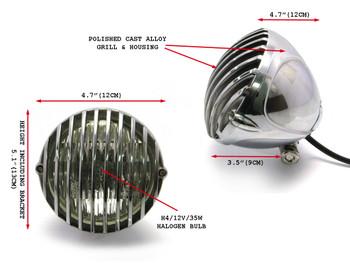 "4 1/2"" 12V 35W Polished Alloy Retro Vintage Grill Headlight Motorcycle Motorbike"