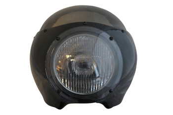 "BLACK Cafe Racer Fairing Cowl with Tinted Windshield and 6 3/4"" Chrome Headlight"