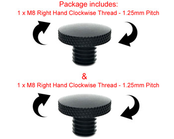 Pair of Billet Aluminium M8 Threaded Motorbike Scooter Mirror Blanking Plugs - CLOCKWISE THREAD ONLY