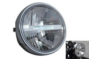 "Black Steel 6.5"" 6 1/2"" 12V LED Project Retro Motorbike Motorcycle Headlight"