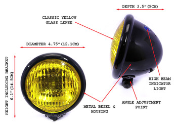 "4.75"" Headlights with Yellow Lens - PAIR - BLACK 35W for Custom Project - Bottom Mount"