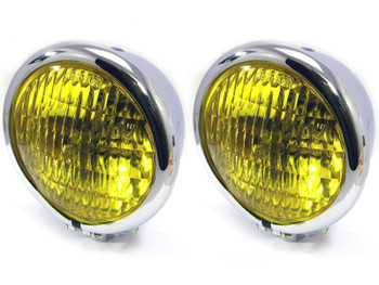 "4.75"" Headlights with Yellow Lens - PAIR - CHROME 35W for Custom Project - Bottom Mount"