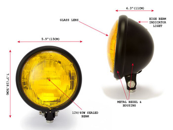 "5.75"" 12V 55W Bates Style Matt Black Custom Retro Cafe Racer Motorbike Headlight"