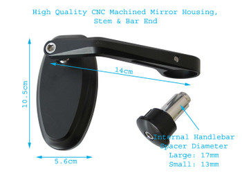 High Quality Billet Aluminium Ducati Cafe Racer & Streetfighter Motorbike Bar End Mirrors with M10 Blanking Plugs