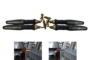 Black Slim Line of Motorbike Motorcycle LED Indicators with Single Row LEDS - 2 x Pairs