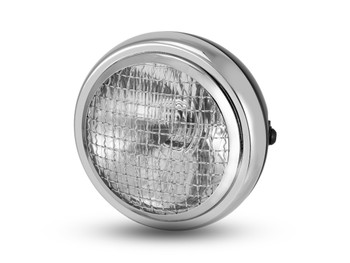 "6"" Black Mesh Grill H4 Retro Headlight with Chrome Bezel for Project Cafe Racer Scrambler Motorbike"
