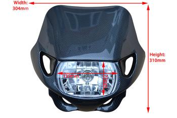 Universal Carbon Fibre Effect / Look 12V/35W Motocross Headlight For All Motocross & Enduro Motorbikes