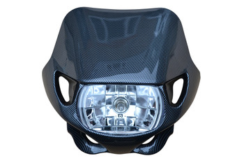 Universal Carbon Fibre Effect / Look 12V/35W Motocross Headlight For All Motocross & Enduro Motorbikes