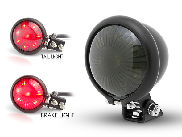 Matt Black LED Stop Taillight for Retro Vintage Project Custom Motorcycle Motorbike