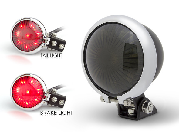Matt Black LED Stop Taillight with Chrome Bezel for Retro Vintage Project Custom Motorcycle Motorbike