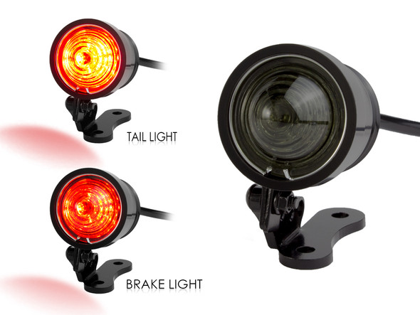 Black CNC Machined Ally Vintage Retro Custom LED Stop Tail Light Smoked Lens