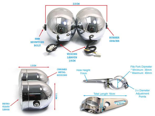 Pair of Chrome Streetfighter Retro Motorbike 35W Headlights & Brackets 32-40mm