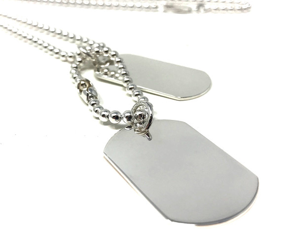 Sterling Silver Military Double Dog Tag Necklace Pendant on Bead Chain