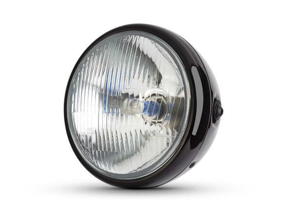 "H4 Headlight 7.5"" Gloss Black Metal 12V 55W Retro Project Motorbike Motorcycle"