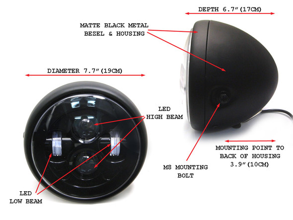 "Motorbike LED 7.7"" Headlight for Custom Project Retro Cafe Racer Bike"