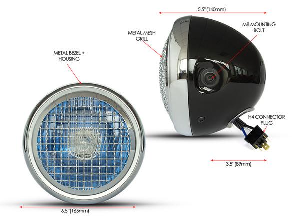 "Retro Project Motorbike 6.5"" Headlight - Black with Chrome Mesh Grill - 12V 55W"