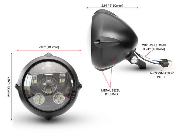 Motorbike LED Headlight for Projector Vintage Custom Retro Bike 7 Inch - TOP QUALITY