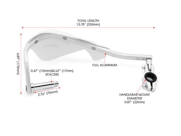 White Motocross / Enduro Motorbike Plastic & Aluminium Insert Handguards for 22mm to 28mm Handlebars