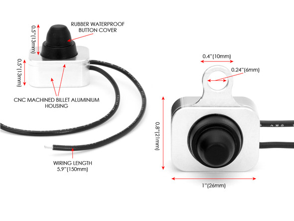 Polished Auxiliary Light On/Off Switch for Harley Davidson Dyna Softail Tourer & Sportster