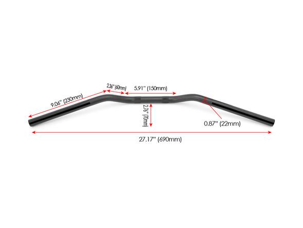 "Motorbike Drag Handlebars- 22mm (7/8"") for Cafe Racers, Scramblers, Brat Bikes & Streetfighters - Black Alloy"