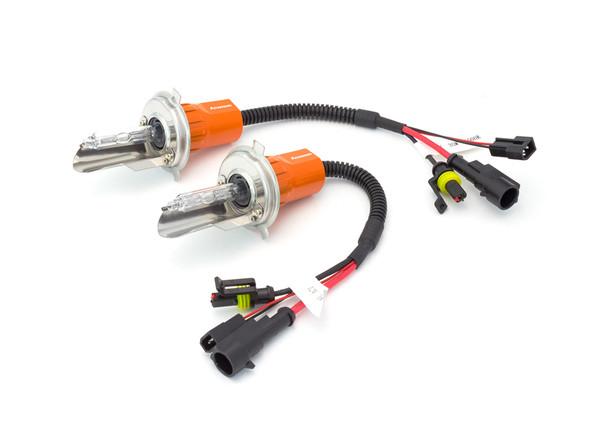 Pair of Aozoom Xenon HID H4 Motorbike & Car Headlight Bulb - High / Low Beam - High Quality
