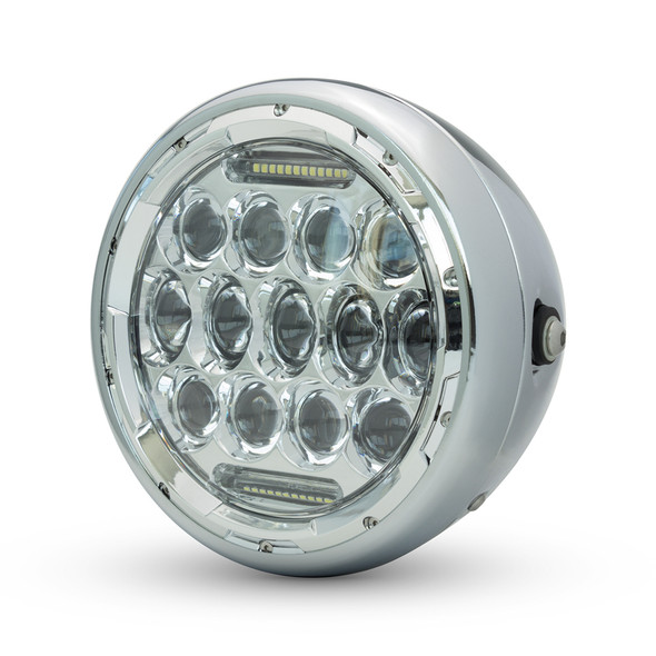 "Chrome Headlight 7.5"" Projector LED for Cafe Racer Retro Custom Motorbike Motorcycle"