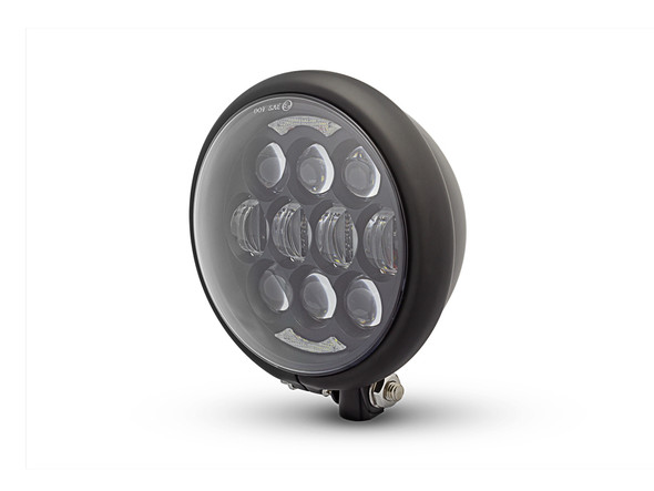 Matt Black Projector LED Motorbike Headlight for Custom Project Bike