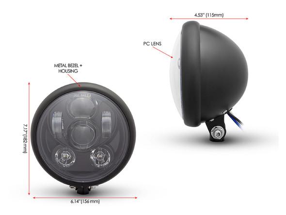 "Matt Black 6"" Projector 6 x LED Motorbike Headlight for Custom Retro Project"