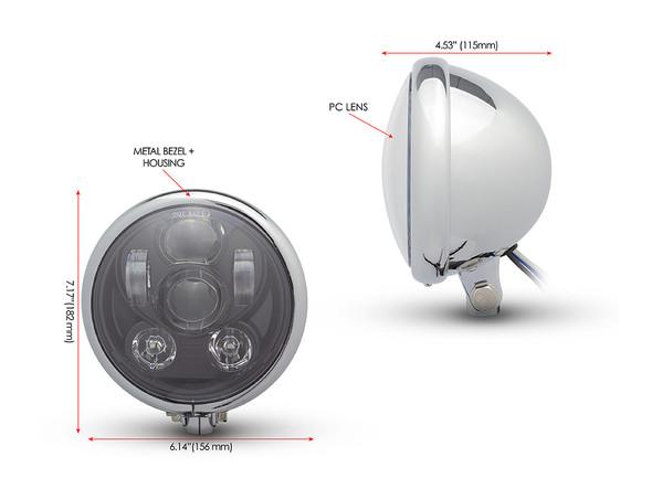 "Chrome 6"" Projector 6 x LED Motorbike Headlight for Custom Retro Project"