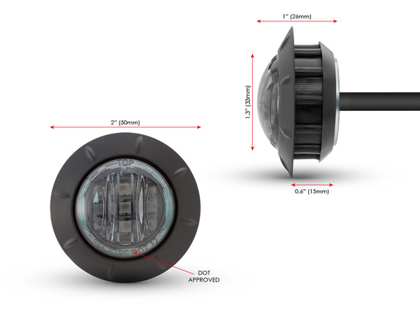 """2"""" 50mm Cafe Racer Flush Mount LED Stop / Tail Light with Smoked Lens"""