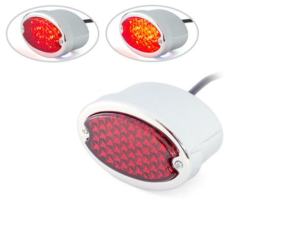 Chrome Motorbike LED Stoplight Taillight Red Lens for Project Custom Classic Bike