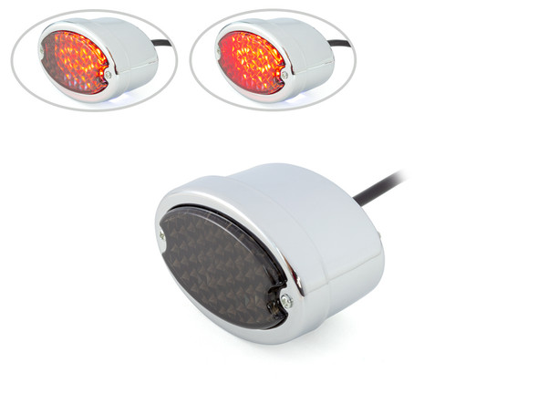 Chrome Motorbike LED Stoplight Taillight Smoked Lens for Project Custom Classic Bike